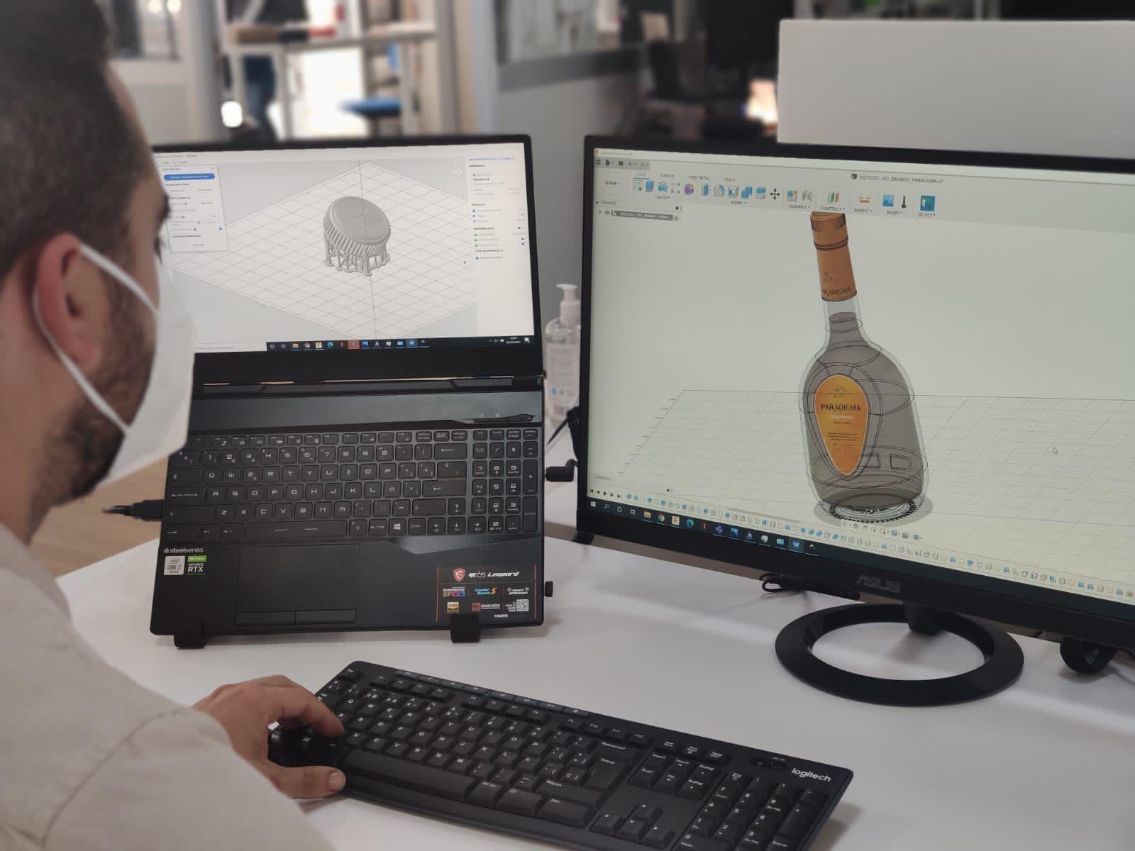 Modelado CAD. Proyecto de packaging de botella